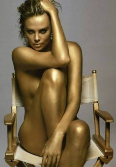 Actress Charlize Theron, bronzed.
