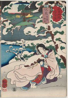 Utagawa Kuniyoshi Title:Fushimi: Tokiwa Gozen, from the series Sixty-nine Stations of the Kisokaidô Road (Kisokaidô rokujûkyû tsugi no uchi) Date:1853