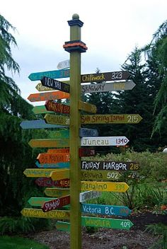 Whimiscal sign the I must have!!! Each board has the names of places we've been together, with the number representing the mileage from our home. Absolutely LOVE! So clever!