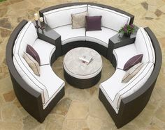 Circular Patio Sectional - Dark Wicker - modern - outdoor sofas - - by Furniture For Patio