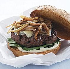 Caramelized Onion Cheeseburgers - tender sweet onions, melted cheese, and tangy lemon-Dijon mayonnaise.
