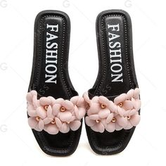 Studded Flat Heel Flowers Slippers (2.705 KWD) ❤ liked on Polyvore featuring shoes and slippers