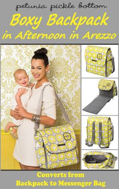"Love the colors in this Pickle Bottom Boxy Diaper Backpack called the ""Afternoon in Arezzo""  - Like that it can be used as either a backpack or as a messenger bag"