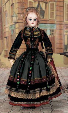 "François Gaultier —18"" Bisque Poupee in Original Brittany Costume, 1880 (520x864)"