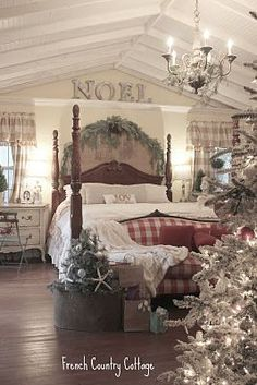 French Country bedroom decorated for Christmas - gorgeous.  Looks like Santa's room.  :-)
