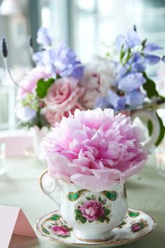 Flowers by Stoneblossom Floral and Event Design...giant pink peony in a teacup! Sweet,sweet,bridal shower by PDR Events