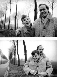 Audrey Hepburn and husband Mel Ferrer pose for pictures during a roadside excursion in France, 1954.