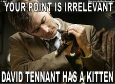 the Tenth Doctor holding a kitten - Google Search