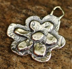 Artisan Layered Flower Pendant or Big Charm in Sterling Silver -140s