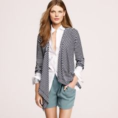 Asymmetrical stripe cardigan... love the all style.