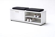 Sitzbank Rubin Hochglanz Weiß Klare moderne Möbellinie Passend zur Möbelserie Rubin 1 x Sitzbank mit 1 Türklappe und 2 offene Fächer Maße: B/H/T ca....