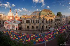 St.Petersburg,Russia, Solyanoy pereulok (Salt lane). Alley floating umbrellas