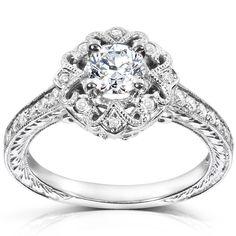Annello by Kobelli 14k Gold 1/2ct TDW Diamond Edwardian Antique Engagement Ring