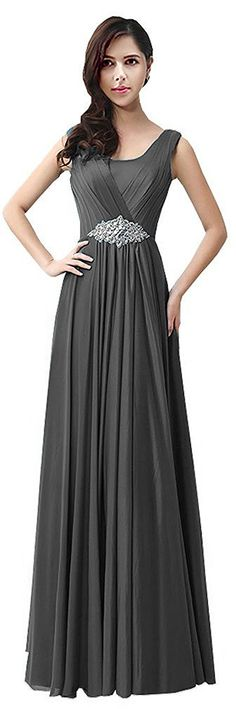 CaliaDress Women Long Chiffon Maxi Rhinestone Bridesmaid Evening Dress C159LF Black UK6: Amazon.co.uk: Clothing