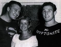 """Above, George Reeves, Noel Neill and Gene LeBell on tour in """"The Godfather of Grappling"""" Gene LeBell is celebrating his bir. George Reeves, Steve Reeves, Adventures Of Superman, Adam West, Lynda Carter, Clark Kent, Batman And Superman, The Godfather, Noel"""
