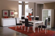 Black and white with red accent- a clean and modern dining room.