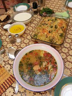Iranian chicken stew or Abgoosht_e Jooje &Spaghetti ,broccoli casserole