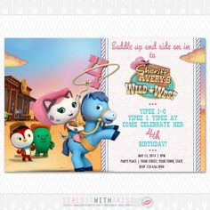 Printable Sheriff Callie Wild West Birthday Party Invitation On