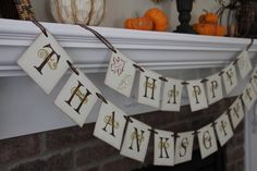 Happy Thankgiving Decorative Banner Thanksgiving by OneTinyHeart, $23.00
