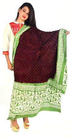 Styleincraft Handmade cotton Bandhej printed mix Dupatta available in 2 shade Brown and green color design. This combination is unique mix and match you can find our best collection in Dupattas  #Buyhandbagsonline #HandmadeHandbags #Authenticdesignerhandbags #Womenswallets #Pursesonline #Handmadeitems #Styleincraft
