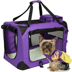 Oxford Pet Dog Carrier Portable House Soft Sided Cat Travel Tote Bag Purple Set #Unbranded