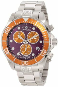 Invicta Men's 11488 Pro Diver Chronograph Purple Dial Stainless Steel Watch Invicta. $121.41. Chronograph functions with 60 second, 30 minute and 1/10th of a second orange subdials; date window at 4:00. Mineral crystal; stainless steel case and bracelet. Water-resistant to 300 M (984 feet). Swiss quartz movement. Purple dial with silver tone and white hands and hour markers; luminous; unidirectional stainless steel bezel with orange top ring; screw-down crown an...