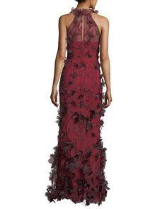 1dbcdb9d24f69 Marchesa Notte 3D Floral Sleeveless Halter Evening Gown Wine Dress,  Bergdorf Goodman, Mother Of