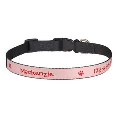 Personalized-Easily Seen Identification Dog Collar- Keep your best friend safe with this attractive collar that has information that is easily read from a distance. This attractive pink dog collar features three red paw prints, your dog's name, and your phone number in a fun font which is shown here in red. The background color and the font color can be changed and the font can also be changed to match your dog's personality.