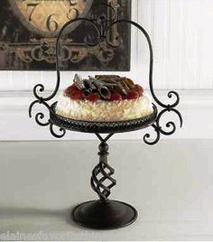 "TUSCAN OR FRENCH COUNTRY SCROLLED IRON CAKE STAND 21"" TALL BY 10"" ROUND 