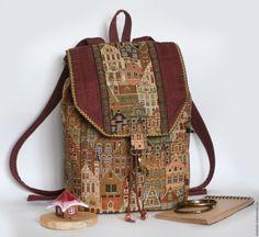 """Купить Гобеленовый рюкзак """"Город"""" - рюкзак, рюкзачок, сумка-рюкзак, летний рюкзак, женский рюкзак"""