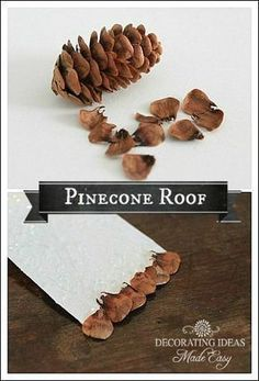 TUTORIAL - how to make a pinecone roof using pine cone scales - great accent for fairy garden houses! - Snow Village Lamp - Fillable glass lamp idea using homemade Putz houses! #GlassLamp