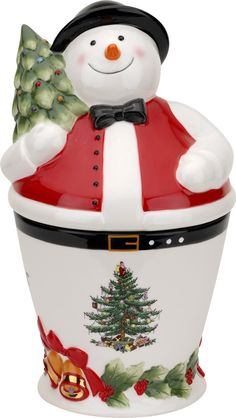 Features:  -Christmas Tree collection.  Food Safe: -Yes.  Product Type: -Cookie jar.  Primary Material: -Ceramic.  Color: -Multi-colored.  Set Size: -1.  Shape: -Novelty.  Function: -Decorative.  Styl