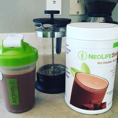 This is my go to shake in the mornings.  I call it my Mocha Morning Madness.  To make: A little freshly brewed coffee☕️, two scoops chocolate shake, and 12oz water. #NeoLife #neolifeshake  #nongmo #22aminoacids #predigested #humanfoodchain #wholefood #looknofurther