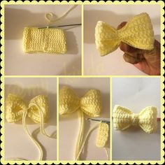 Crochet Bow Pattern - - This pattern is for a thee demensional bow that can be used for all kinds of things' as a hair accessory, cute decoration for a hat, to add extra cuteness to doll clothes, etc. Crochet Bows Free Pattern, Crochet Bow Ties, Crochet Hair Bows, Crochet Boot Cuff Pattern, Crochet Hair Accessories, Crochet Flower Patterns, Cute Crochet, Crochet Flowers, Crochet Stitches