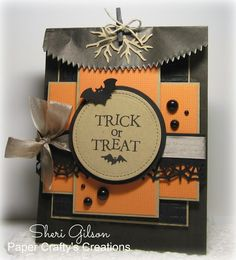 Halloween Treat Bag by Sheri Gilson using Happy Halloween Stamp set (Hero Arts)… Dulceros Halloween, Halloween Favors, Halloween Cards, Holidays Halloween, Halloween Scrapbook, Halloween Treat Holders, Halloween Treat Bags, Fall Cards, Cards