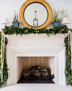 @hillarytinteriors on Instagram: gorgeous traditional fireplace mantel and elegant holiday and/or #christmasdecor #holidaydecorating""
