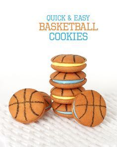 Basketball cookies How-To ~ nilla wafers and edible ink marker... You could also add a marked cookie onto a store-bought cupcake as a topper for another last minute basketball treat.