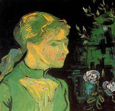 Vincent van Gogh. Portrait of Adeline Ravoux. Oil on vanvas.  (Van Gogh painted three portraits of Adeline Ravoux.) Auvers-sur-Oise: June, 1890.  Cleveland: The Cleveland Museum of Art.