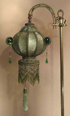 Antique Floor Lamps & Beaded Victorian Lamp Shades by Antique Artistry