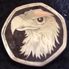 DOUG J. LARSON LOVE TOKEN - EAGLE - UNKNOWN FOREIGN COINAGE Hobo Nickel, Eagle, Carving, Wood Carvings, Sculptures, Printmaking, Wood Carving