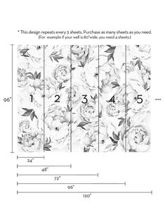 Peony Flower Mural Wallpaper Black and White Watercolor