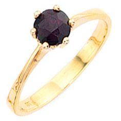 Damenring, 333/- Gelbgold, 1 Granat (ca. 1,7 g) (nur Weite 50 - 60), Durchmesser ca. 6,9 mm, Tiefe ca. 7,5 mm $148.39