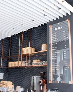 Black, copper and white coffee shop interior. Table Bar, Café Bar, Bakery Interior, Restaurant Interior Design, Design Café, Cafe Design, Speisenkarten Designs, Cafeteria Menu, Deco Restaurant