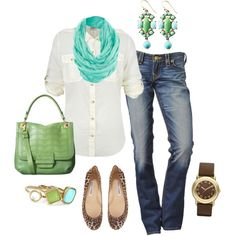 turquoise & green, created by bonnaroosky.polyvore.  Love, love, love!!!