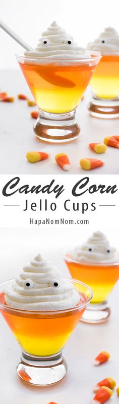 Candy Corn Jello Cups - a fun and easy Halloween dessert!