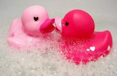 duckie duck duck.... baby pink mets hottie pink and says, where you been all my life?  fancy meeting you here.
