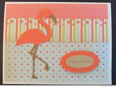 Flamingo Cricut Birthday Card using Life Is A Beach Cricut Cartridge
