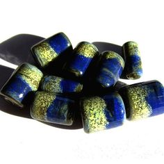 Handmade Enamel lampwork beads | Handmade Lampwork Glass Tube Beads blue yellow enamel