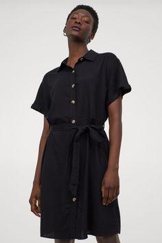 Linen-blend Shirt Dress - Black - Ladies | H&M US 2 Pretty Black Dresses, Dress Black, Box Pleats, Belt Tying, Black Women, Short Dresses, Short Sleeves, Shirts, Clothes