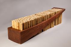 Contemporary bamboo pole bench created by University of Wisconsin-Madison's art department